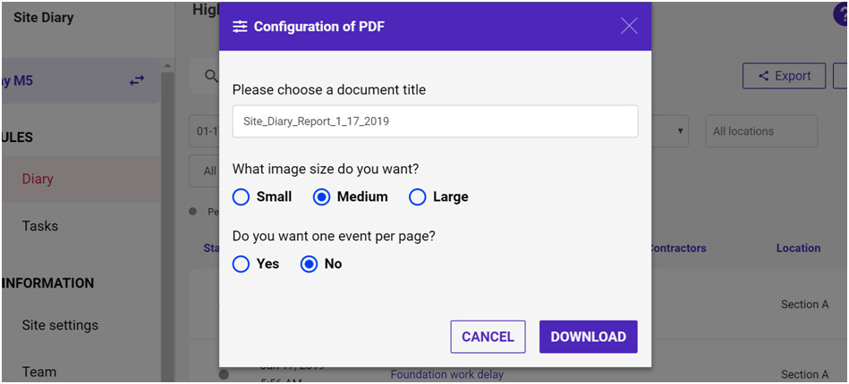 Download PDF Report with configuration Site Diary
