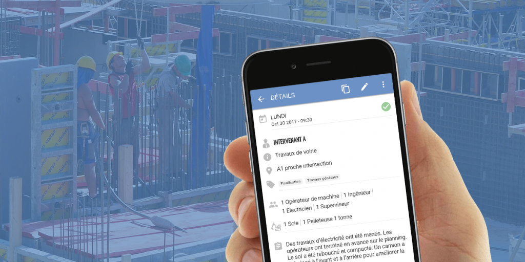 L'application de construction Site Diary en version mobile