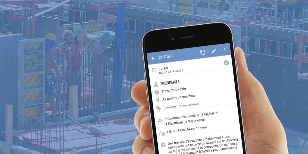 L'application de construction Site Diary en version mobile
