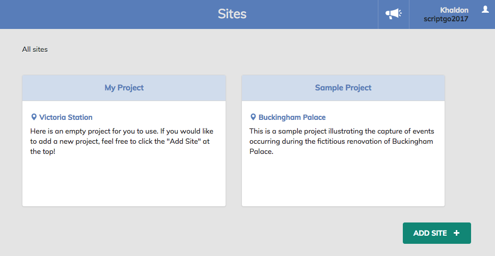 Site Diary construction app creation of a site