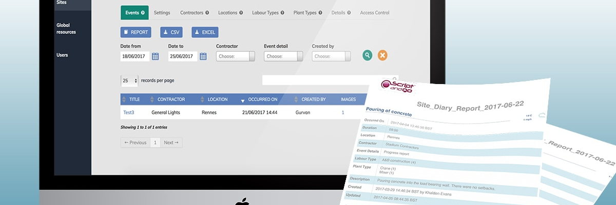 Site Diary construction web app