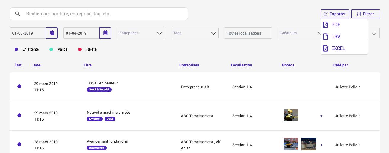 Export de rapports Site Diary en PDF, Excel, CSV