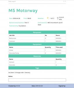 Site Diary New PDF Report screenshot