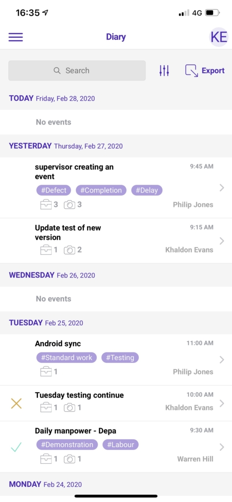 site diary app - New event list - creators name